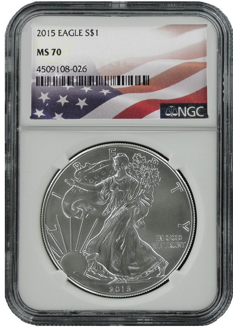 2015 1oz Silver American Eagle Ngc Ms70 Flag Label