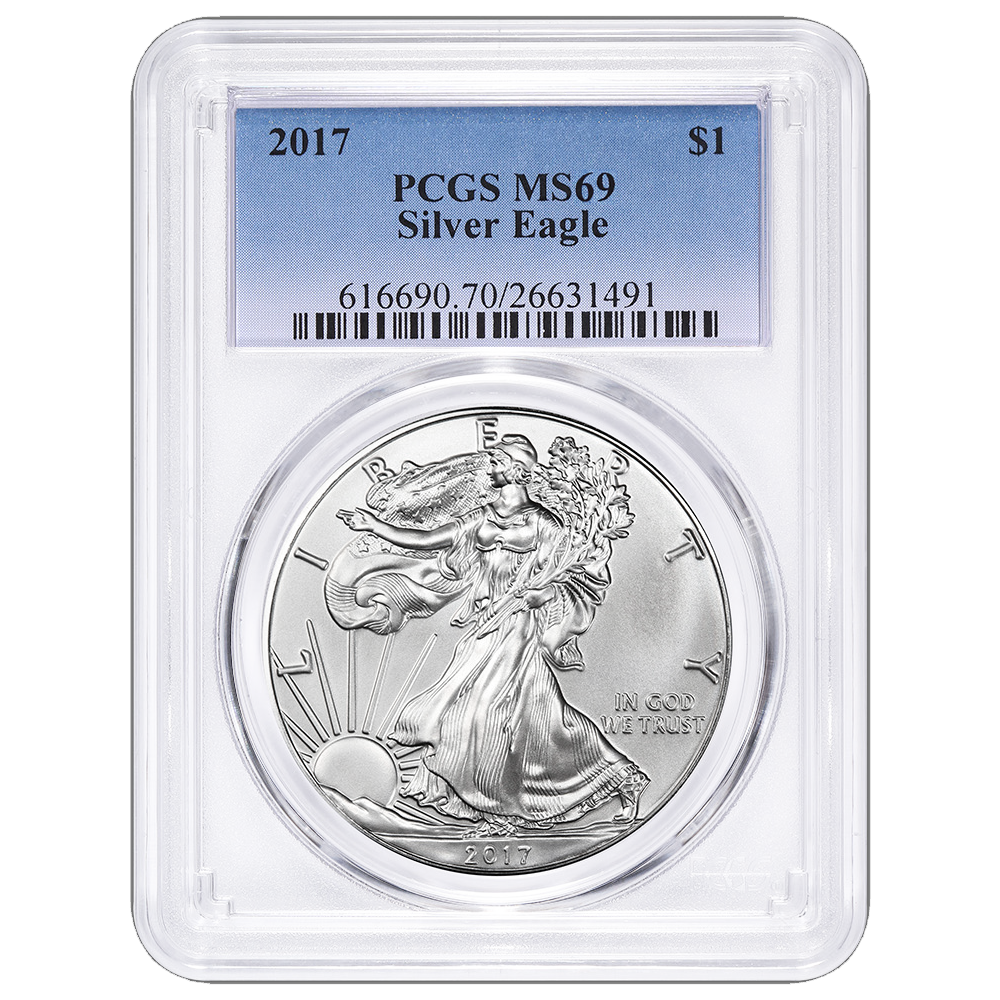 W PCGS MS70 First Day of Issue Flag Label American Silver Eagle 2017-