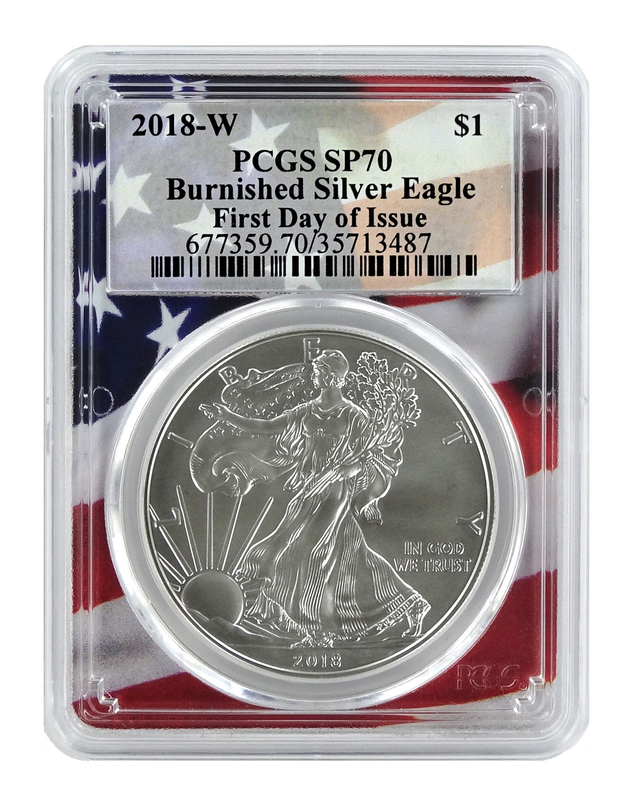 2018 W Burnished Silver Eagle Ngc Ms70 Brown Label Zoom