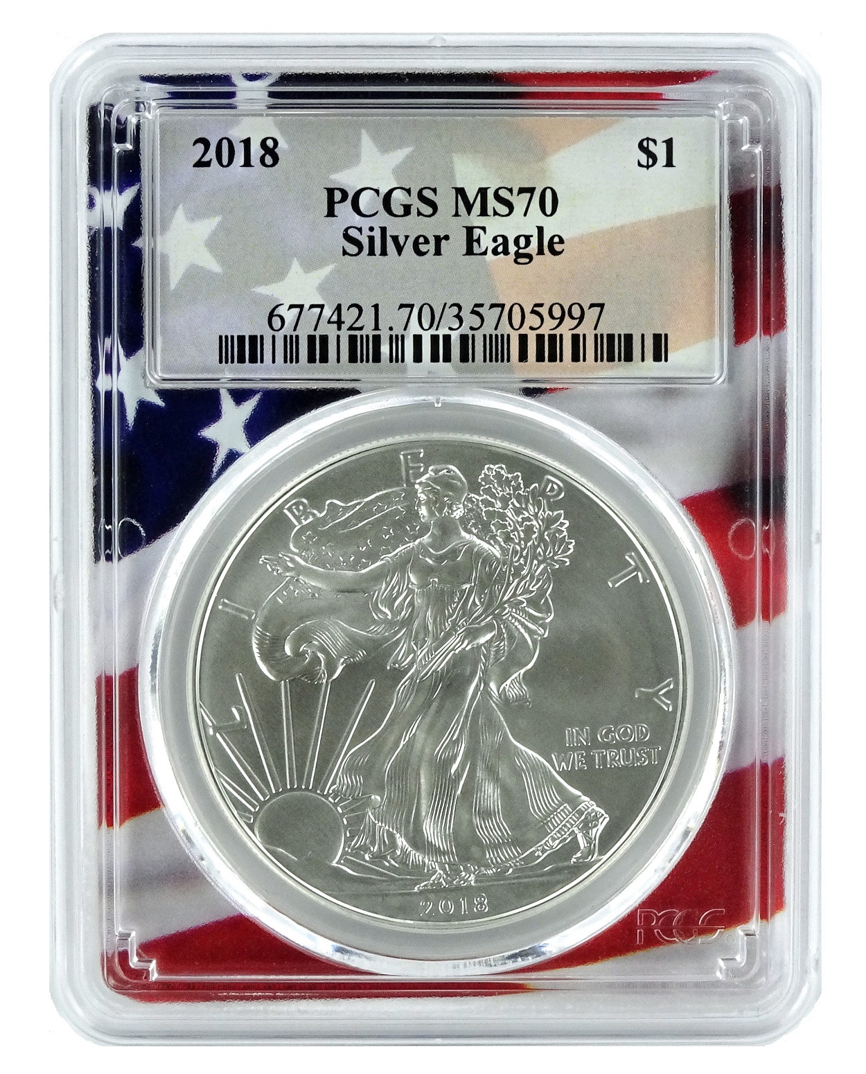 2018 Australia 1 Oz Silver Wedge Tailed Eagle Ms70 First Releases Mercanti Signed Flag Label