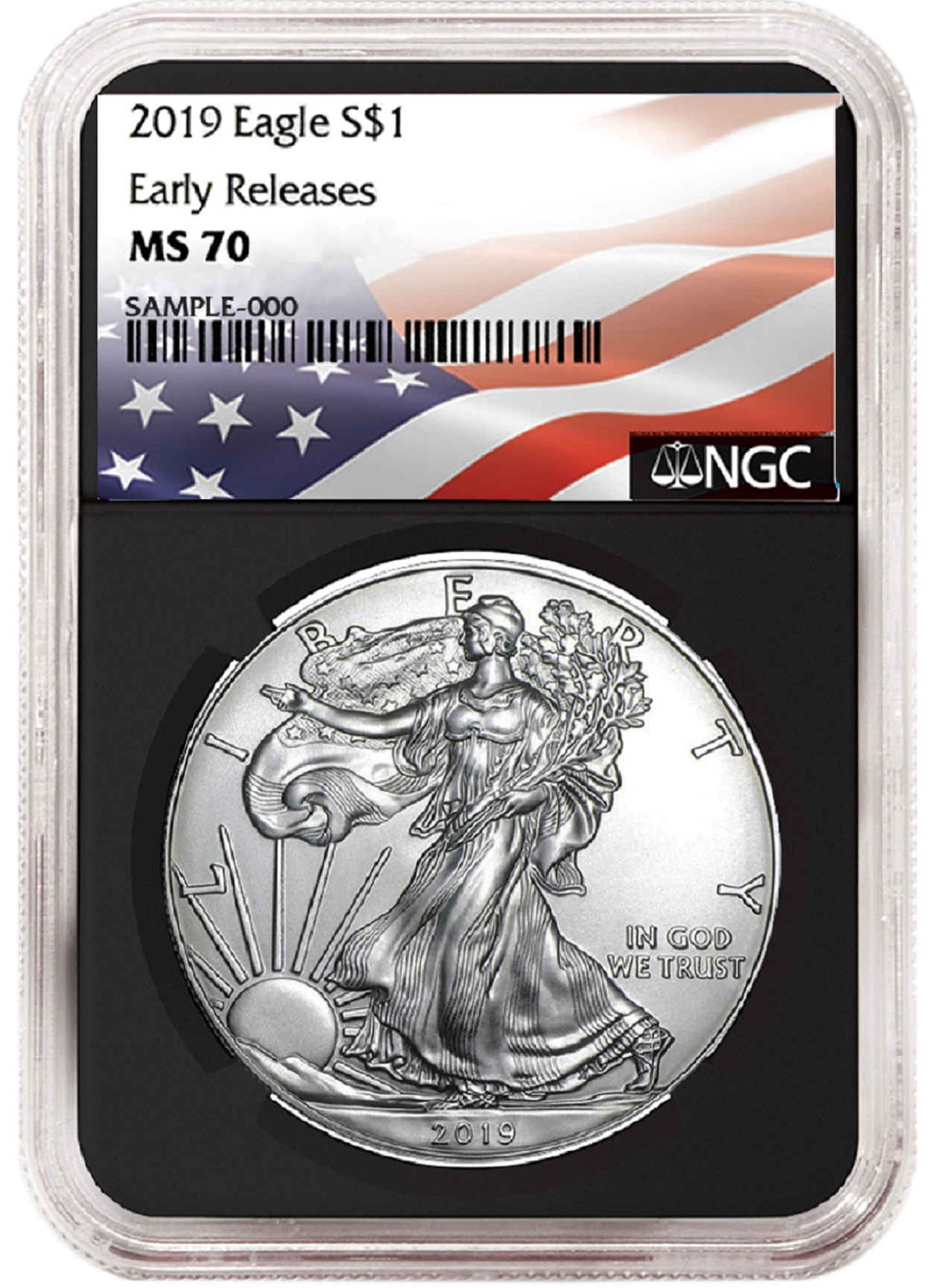 Liberty Coin Act 2018 1oz Silver Eagle NGC MS70 First Day Issue Black Core