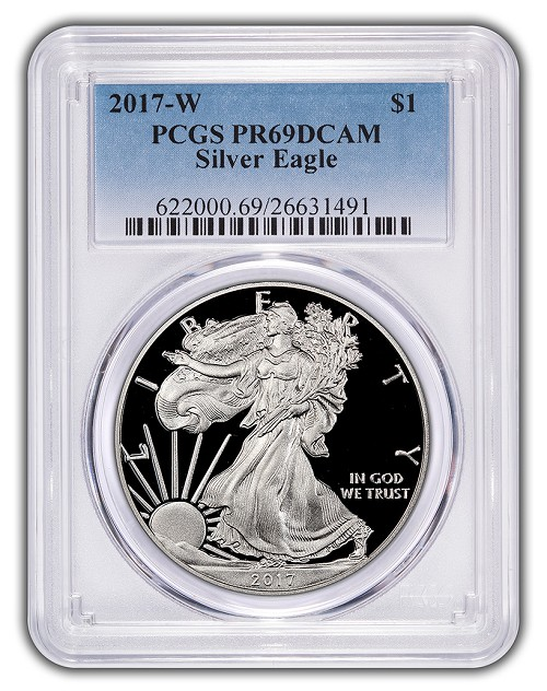 2017 W 1oz Silver Eagle Proof PCGS PR69 DCAM - Blue Label