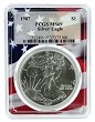 1987 1oz Silver Eagle PCGS MS69 - Flag Frame