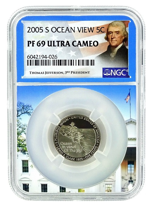 2005 S Ocean View Nickel NGC PF69 Ultra Cameo - White House Core