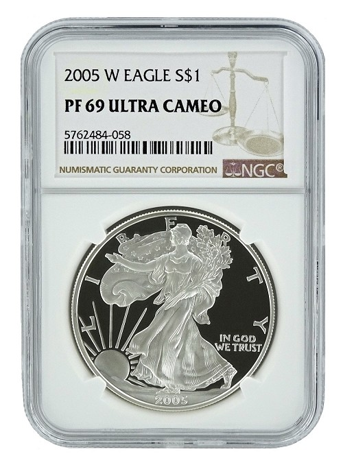 2005 W 1oz Silver Eagle Proof NGC PF69 Ultra Cameo - Brown Label
