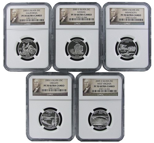 2005 S Silver Quarter Set NGC PF70 Ultra Cameo Portrait Label