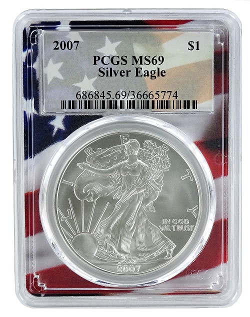 2007 1oz Silver Eagle PCGS MS69 - Flag Frame