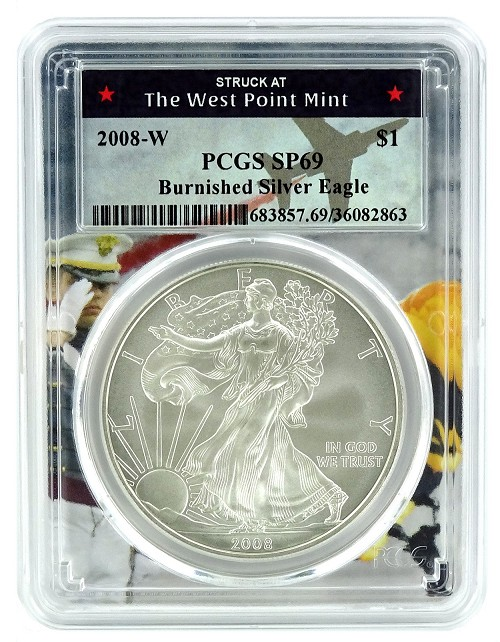 2008 W Burnished Silver Eagle PCGS SP69 - West Point Frame