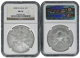 2008 W Burnished Silver Eagle NGC MS70 - Brown Label
