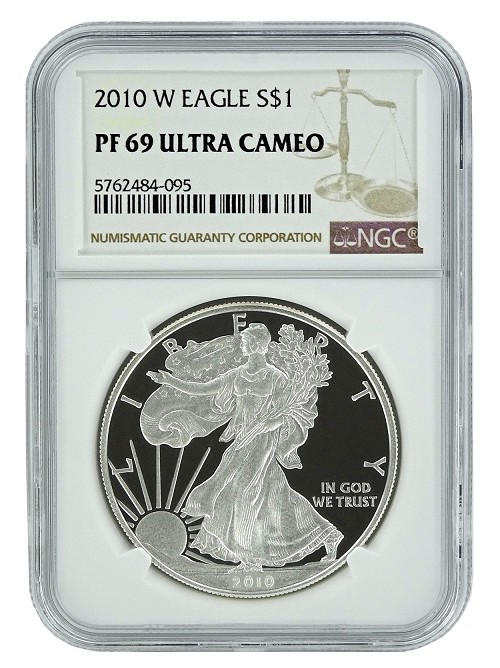 2010 W 1oz Silver Eagle Proof NGC PF69 Ultra Cameo - Brown Label