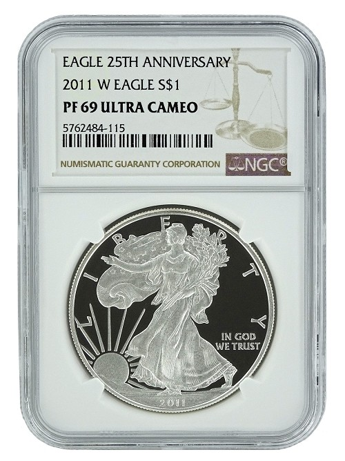 2011 W 1oz Silver Eagle Proof NGC PF69 Ultra Cameo - Brown Label