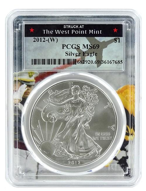 2012 (w) Struck At West Point Silver Eagle PCGS MS69 - West Point Frame