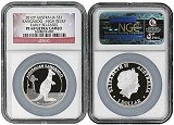 2012 P Australia Silver Kangaroo High Relief NGC PF69 UC Early Releases Flag Label