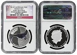 2012 P Australia Sea Life Series II 1/2oz Silver Manta Ray NGC PF69 UC Early Releases Flag Label