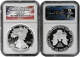 2012 S Coin & Currency Set Silver Eagle NGC BU Flag Label