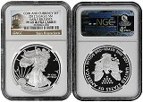 2012 S Coin & Currency Set Silver Eagle NGC PF69 Early Releases Trolley Label