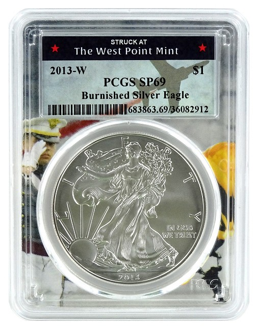 2013 W Burnished Silver Eagle PCGS SP69 - West Point Frame
