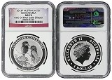 2013 Australia 1oz Silver Kookaburra NGC MS70 One of first 2500 Struck Flag Label