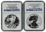 2013 W Silver Eagle 2 Coin Silver Set (S40) NGC PF70 SP70 Early Releases Blue Label