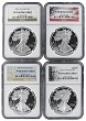 2013 W 1oz Silver Eagle Proof 4 Coin Set NGC PF70 Ultra Cameo