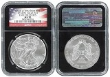 2014 (w) 1oz Struck at West Point Silver Eagle NGC MS70 - Early Releases - Black Core Flag Label