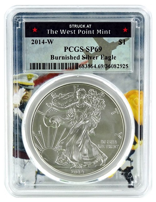 2014 W Burnished Silver Eagle PCGS SP69 - West Point Frame