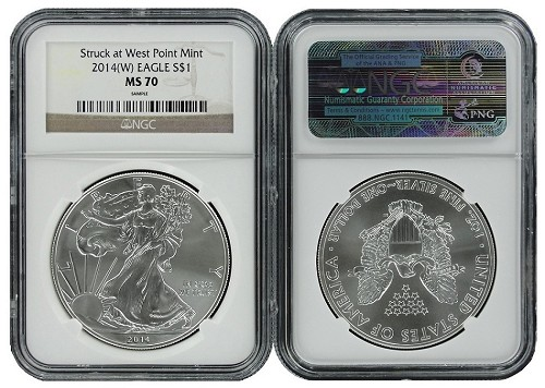 2014 (w) 1oz Struck at West Point Silver Eagle NGC MS70 - Brown Label