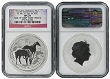 2014 Australia 1oz Silver Lunar Horse NGC MS70 One of first 1000 Struck Flag Label