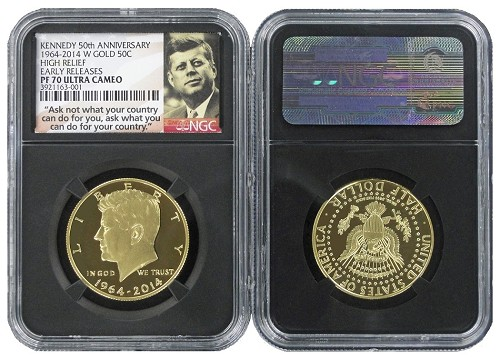 2014 W 50th Anniversary Kennedy Half-Dollar Gold Proof Coin NGC PF70 UC Black Core Holder Early Releases