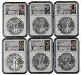 2014 Silver Eagle 6 Coin Set NGC MS70 MLB Players Series Second Release 6 Players