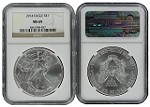2014 1oz Silver American Eagle NGC MS69 Brown Label