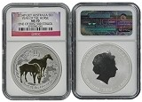 2014 P Australia Silver Gilt/Gilded Horse NGC MS70 One Of First 500 Struck Flag Label