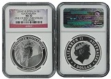 2014 Australia 1oz Silver Kookaburra NGC MS70 One of first 2500 Struck Flag Label