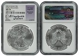 2014 1oz Silver American Eagle NGC MS70 - Early Releases - Elizabeth Jones Signed