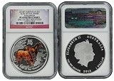 2014 P Australia Silver Colorized Horse NGC PF69 UC One Of First 500 Struck Flag Label