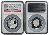 2014 Australia 1oz Silver High Relief Kookaburra NGC PF70 UC One of first 500 Struck Flag Label