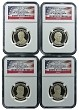 2014 S Presidential Dollar Four Coin Set NGC PF70 Ultra Cameo Flag Holder