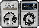 2014 W 1oz Silver Eagle Proof NGC PF69 Ultra Cameo - Brown Label