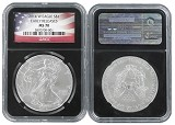 2014 W Burnished Silver Eagle NGC MS70 - Early Releases Black Core - Flag Label