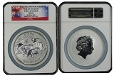 2015 Australia 10oz Silver Lunar Series II Goat NGC MS69 Early Releases Flag Label