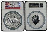 2015 Australia 10oz Silver Lunar Series II Goat NGC MS70 Early Releases Flag Label
