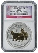 2015 P Australia Silver Gilt/Gilded Goat NGC MS70 One Of First 500 Struck Flag Label