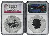 2015 Australia 1oz Silver Lunar Goat NGC MS70 Early Releases Flag Label
