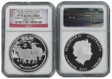 2015 P Australia 1oz Silver Proof Goat NGC PF70 UC One of first 500 Struck Flag Label