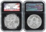 2015 (w) Silver Eagle Struck at West Point Mint NGC MS70 Early Releases - Black Core Flag Label - Presale