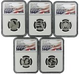 2015 S National Park Clad Quarter Set NGC PF69 UC - First Day Issue - Flag Label