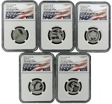 2015 S National Park Clad Quarter Set NGC PF70 UC - First Day Issue - Flag Label