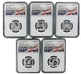 2015 S National Park Silver Quarter Set NGC PF69 Ultra Cameo Flag Label