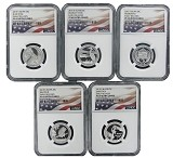2015 S National Park Silver Quarter Set NGC PF69 UC Flag Label - Early Releases