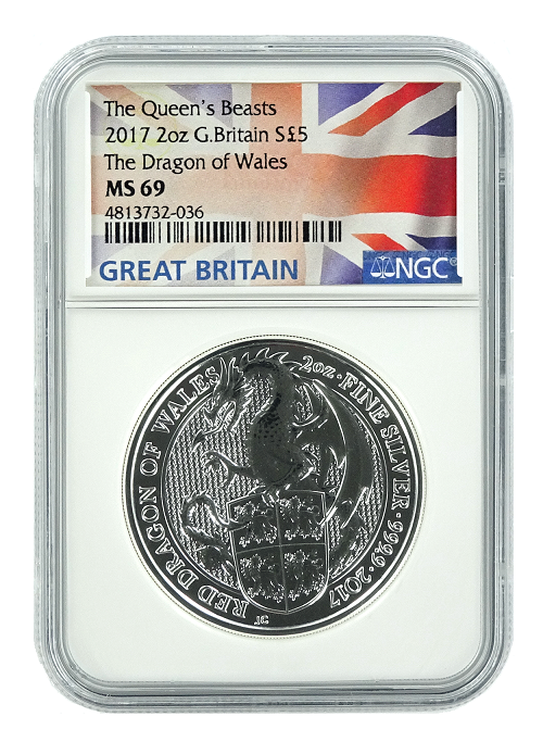 2017 Great Britain 2oz Silver Queens Beast Dragon NGC MS69 - Flag Label
